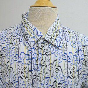 Jhane Barnes white blue floral long sleeve shirt L